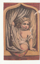 Reynolds Brothers Shoes Brown Bros. Good Morning Girl Window Curtain Card c1880s