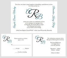 100 Personalized Custom Monogram Names Wedding Invitations Set Any Color