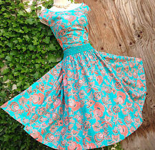 Delightfully feminine MONSOON Clarrisa: turquoise/coral 50s fit&flare dress 22