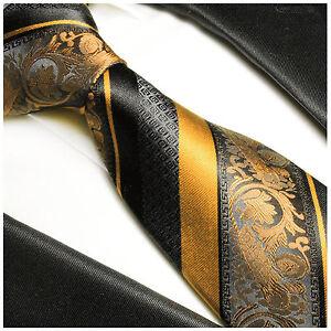 Paul Malone Krawatte gelb gold schwarz barock gestreift Seidenkrawatte 495