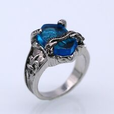 Cool VONGOLA Ring Blue Crystal 18K White Gold Plated Big Men/Women Ring Size 9