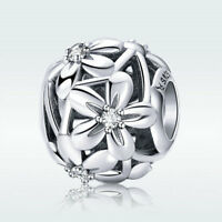 Hollow Flower S925 Sterling Silver Bead CZ Charm For Girl Bracelet Chain Jewelry
