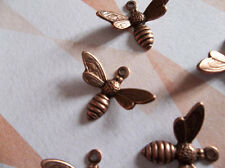 Antiqued Copper Bee Charms or Pendants Wings Bent in Flight 17mm X 11mm - Qty 5
