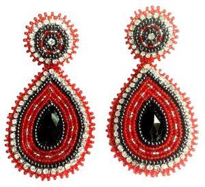 NEW STATEMENT HANDCRAFTED RED BLACK TEAR DROP POST DROP/DANGLE EARRINGS E60/30