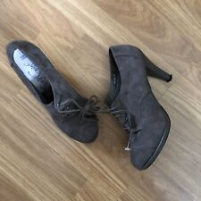 MARKS & SPENCER. SIZE 7. BROWN SUEDE LOOK, LACE UP ANKLE BOOTS