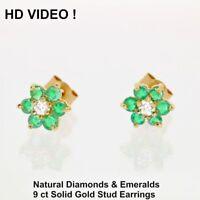 Wonderful solid Gold Stud Earrings 0.5 ct real Diamonds & Emeralds certificate