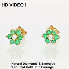 Wonderful solid Gold Stud Earrings 0.5 ct real Diamonds & Emeralds certificate