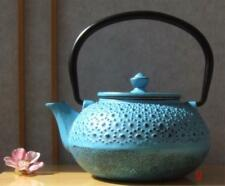 Cast Iron Daisy Blue Tetsubin teapot kettle 0.6 litre