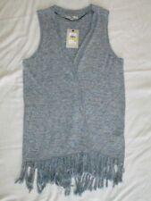 NEW! $79 size  M medium Bass brand womens fringe Vest blue white cotton