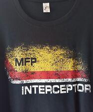 Mad Max MFP Interceptor Película Retro T Shirt V8 coche Pursuit Azul Marino para Mujeres XXL