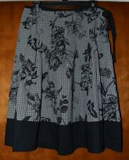 Talbots 10 100% Cotton Black White Gingham Butterfly Side Tie Pleated Skirt