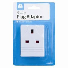 3 WAY SOCKET HOUSEHOLD MULTI PLUG FUSED ADAPTER UK MAINS 13AMP 240V AC 3 - NEW