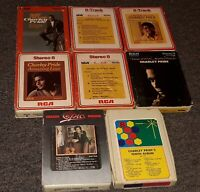 Charlie Pride 8 track tapes Lot Of 9 albums CLASSIC COUNTRY MUSIC RCA RECORDS