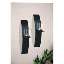 Wand Kerzenhalter 2er Set schwarz Teelicht Wandkerzenhalter Wandleuchter Metall