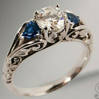 Vintage 925 Silver White Topaz Ring Women Man Sapphire Wedding Jewelry Sz6-10 Ms