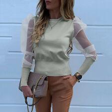 Womens Mesh Sheer Puff Sleeve T Shirt Long Sleeve Sexy Blouse Slim Club Tops