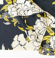 "True Vintage 1940s Silky Rayon Black, Yellow & White 40"" x 57"" Cool Handfeel"