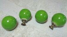 Vintage Mid Century Green Ceramic Ball Drawer Pull Cabinet Knob Set of 4 JAPAN