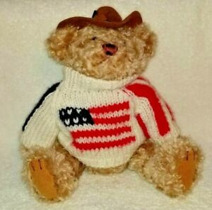 "Brass Button Bear Legendary Collection ""Clay"" Cowboy Hat American Flag Sweater"