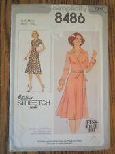 Simplicity 8486 Pattern Front-Wrap Dress in Half-Size Disco Era Size 14 1/2 FF