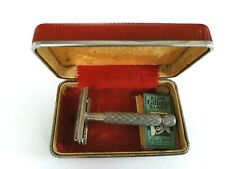 Vintage Gillette Safety Razor Made in England in Red Metal/Leather Box 6 Blades
