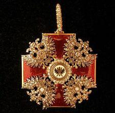 Pendant 18k Gold 4.2ct Diamonds Imperial Alexander Nevsky Medal Russian Tsar
