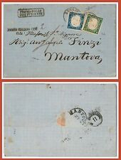Storia Postale MISTA: ITALIA Sass 11 + SARDEGNA Sass 13E su BUSTA da REGGIO 1863