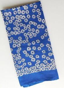 """Vintage blue floral handkerchief Daisy Cotton kerchief neckerchief 20"""" square"""