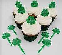 12 x  Shamrock Cupcake Toppers Picks St. Patrick's Day Green Plastic Reusable