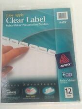 Avery 11428  clear Lael Index Maker Presentation dividers 12 tabs ink jet laser