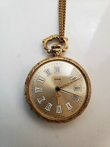 Turler Swiss Pendant Watch - 17 Jewels - Roman Numerals - 10 Micron GP