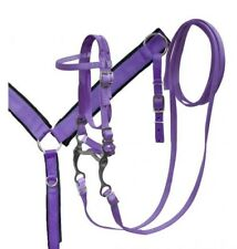 Showman PURPLE Nylon Bridle, Breast Collar & Grazing Bit Set! NEW HORSE TACK!