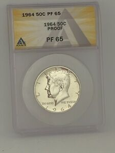 1964 P 50C Philadelphia Mint Kennedy Silver Proof Half Dollar - ANACS PF65 #345