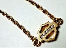 "14 K Yellow Gold Diamond Detail Anklet Bracelet 9.75"" Harley Davidson Logo"