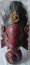 OLD HAND CRAFTED PAINTED WOODEN LORD GANESHA ELEPHANT FACE WALL HANGING MASK