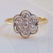 Antico Periodo edoardiano 18ct Oro Diamante Floreale Anello di Cluster (0.70cts) c1910; Taglia L