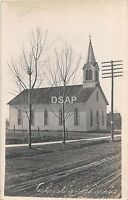 B39/ Lafontaine? Indiana In Real Photo RPPC Postcard Christian Church c1910