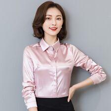 Lady Simulate Silk Satin Shirt Long Sleeve Formal Work Shiny Blouse New Elegant