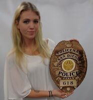 Policeman San Diego  Department Badge All Metal Sign (With Badge Number)