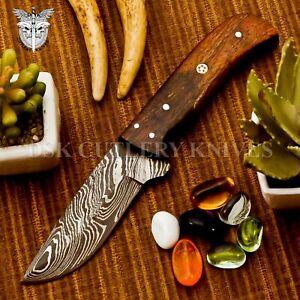 BEAUTIFUL HAND MADE DAMASCSU STEEL HUNTING SKINNER KNIFE HANDLE ROSE WOOD