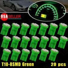20 PCS Vivid Green T10 Wedge 8-SMD Cluster Instrument Panel Dashboard Light W5W