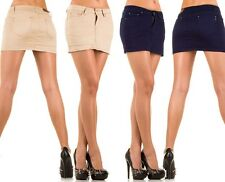 Kurzer Rock Jeansrock Minirock Stretchrock Hüftrock Damen Jeans Strass