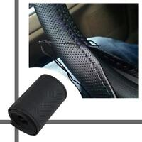 Car Truck PU Leather Steering Wheel Cover With Needles and Thread DIY Black F GA