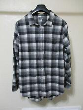 Ibex Women's Gray Plaid Taos Tunic Wool Snap Front Shirt - Large