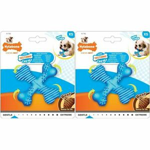 2 x Nylabone Beef Puppy X-Shaped Chew Toy - X-Small Dogs - Soft & Durable Nylon