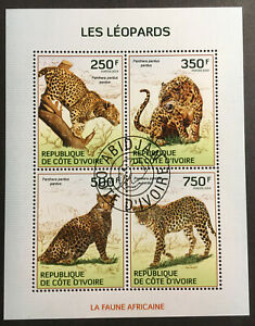 Leopards CTO Souvenir Sheet of 4 Stamps 2014 Ivory Coast Animals