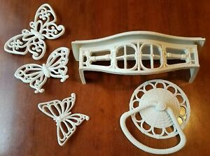 Vintage Home Interior/Homco Faux Bamboo Shelf, Towel Holder And Butterflies