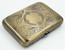 Classic Metallic Double Sided King Cigarette Case Etched Antique Brass