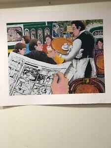 "David Azuz - Serigraph - ""Café Scene - I"" 1980- 8/200 – Hand Signed"