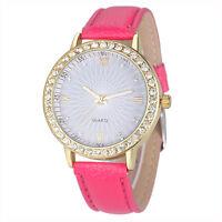 Frauen Damen Kunstleder Uhren Watch Ziffern-Quarz Armbanduhr mit Diamant NEU